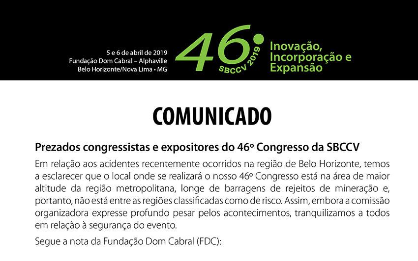 Comunicado - Prezados congressistas e expositores do 46� Congresso da SBCCV