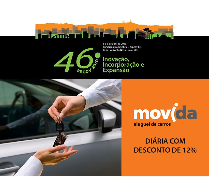 Parceria aluguel de carros Movida e SBCCV - diária com desconto de 12%
