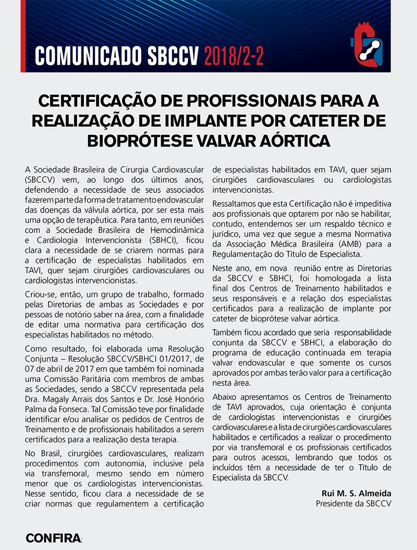 CERTIFICAÇÃO DE PROFISSIONAIS PARA A REALIZAÇÃO DE IMPLANTE POR CATETER DE BIOPRÓTESE VALVAR AÓRTICA