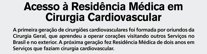 Acesso à Residência Médica em Cirurgia Cardiovascular